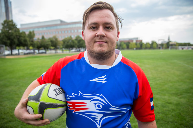 Metro senior rugby player Philip Sevier poses for a self portrait before hitting the practice field Aug. 25. Photo by Alyson McClaran • amcclara@msudenver.edu