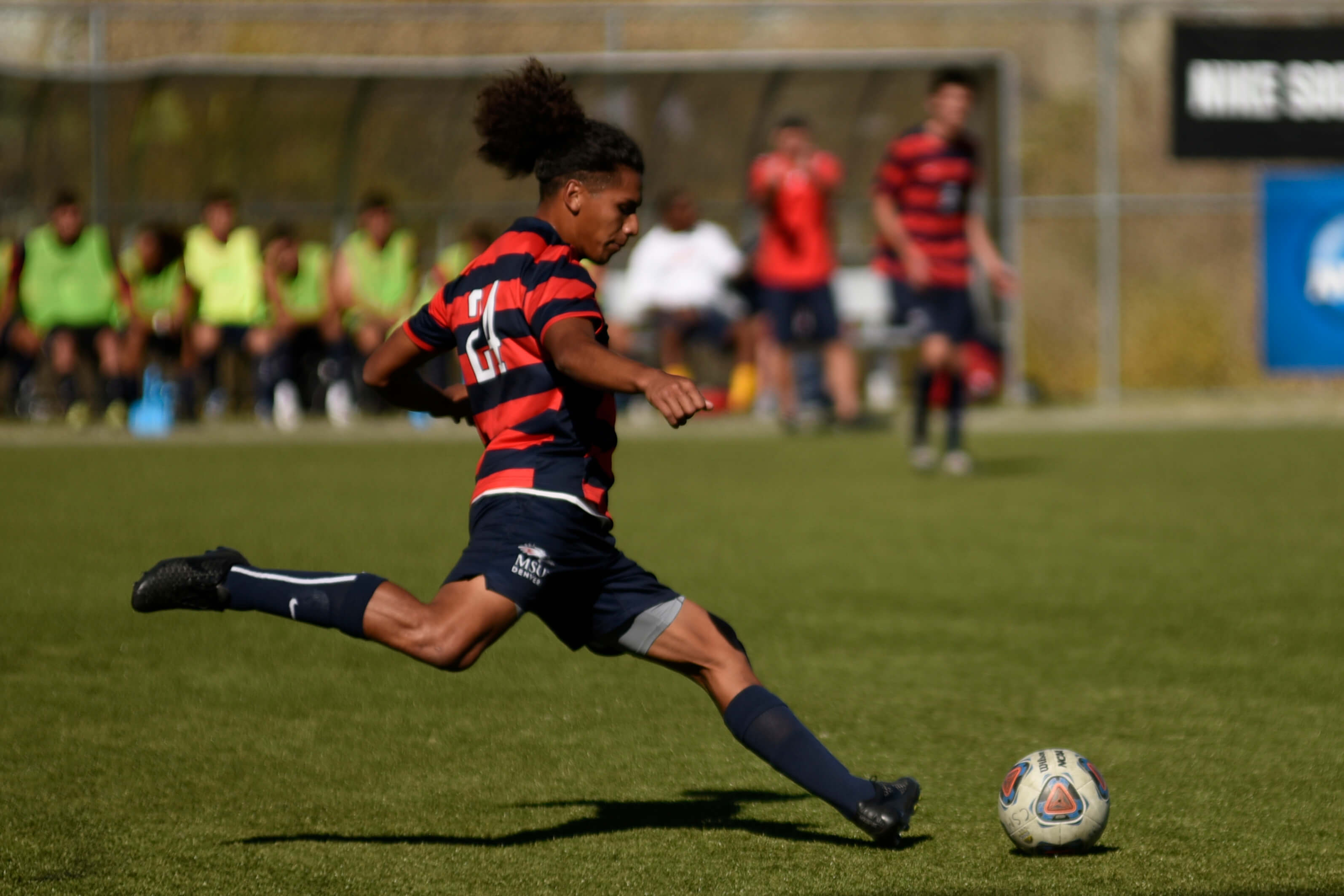 Nov. 2, 2016- MSU Denver's Defensemen, Brayan Molina, kicks the ball into play during the RMAC Men's Divison II Soccer game against Colorado School of Mines at Stermole Soccer Stadium in Golden, Colo. MSU defeated Mines 1-2 in overtime. Photo by Cherie Vasquez.
