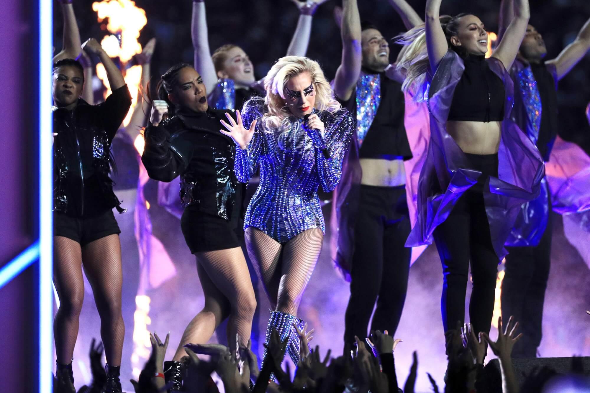 Lady Gaga Performing at the Super Bowl LI Halftime Show